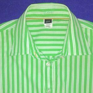 J CREW lime green white stripe blouse size XS